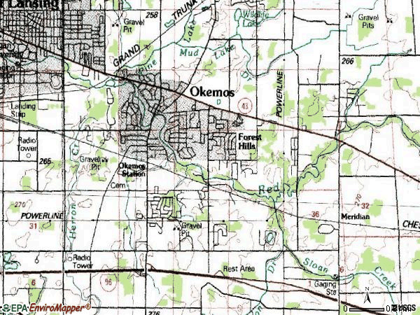 Zip code 48864 topographic map