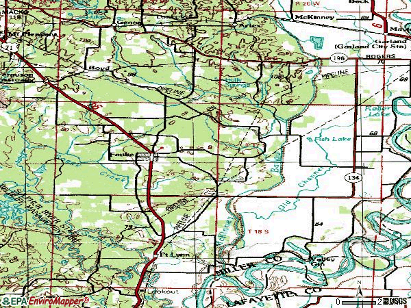 Zip code 71837 topographic map