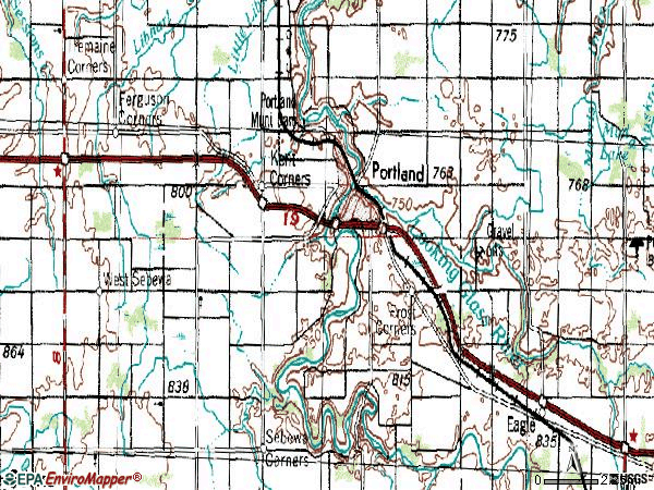 Zip code 48875 topographic map
