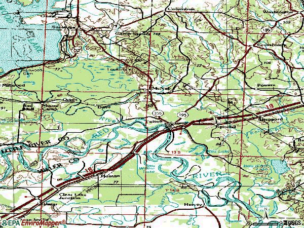 Zip code 71838 topographic map