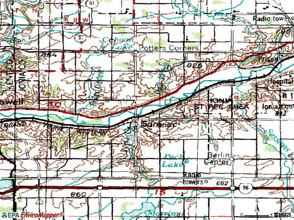 Zip code 48881 topographic map