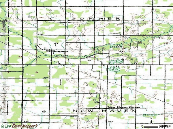 Zip code 48889 topographic map