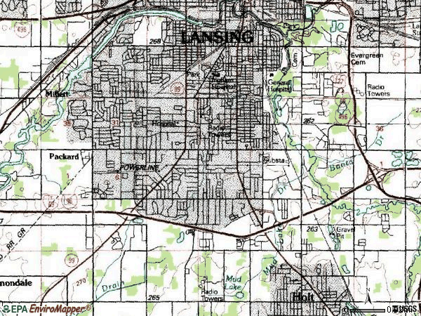 Zip code 48911 topographic map