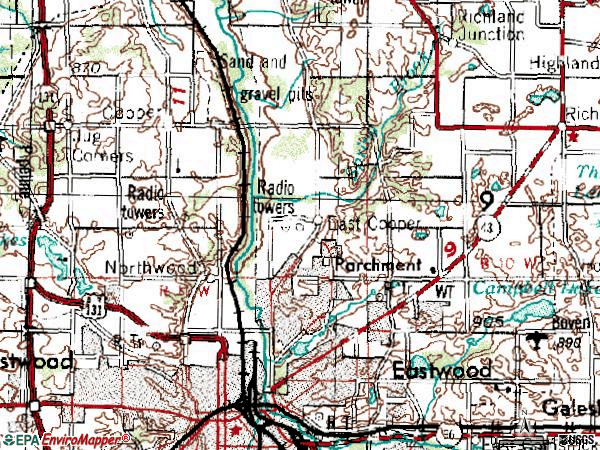 Zip code 49004 topographic map