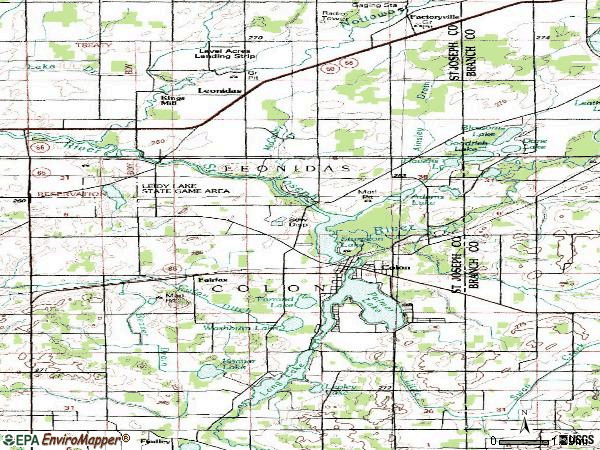 Zip code 49040 topographic map