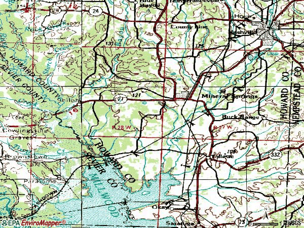 Zip code 71851 topographic map