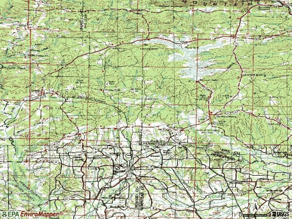 Zip code 71852 topographic map
