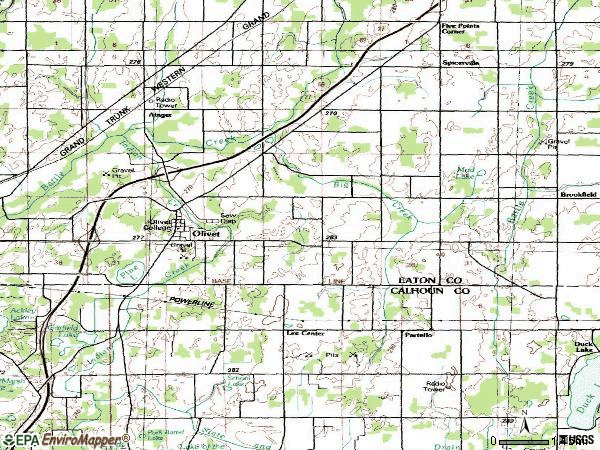 Zip code 49076 topographic map