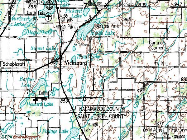 Zip code 49097 topographic map