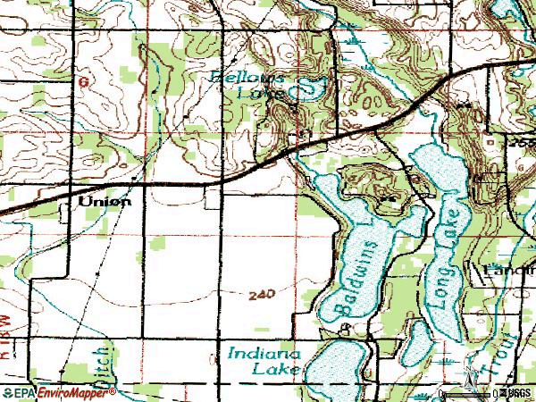 Zip code 49130 topographic map