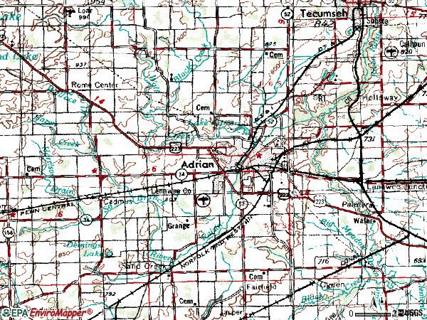 Zip code 49201 topographic map