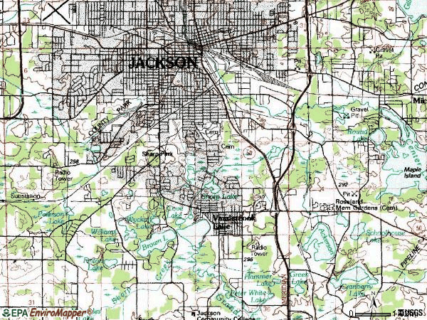Zip code 49203 topographic map