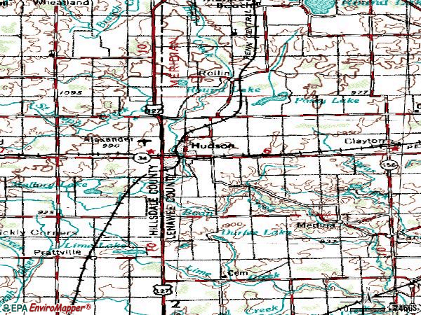Zip code 49247 topographic map