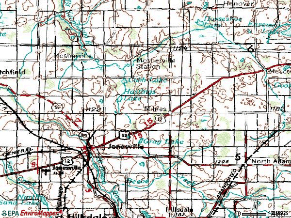 Zip code 49250 topographic map