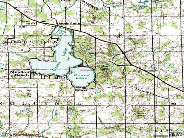 Zip code 49253 topographic map