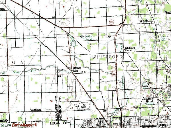 Zip code 49267 topographic map
