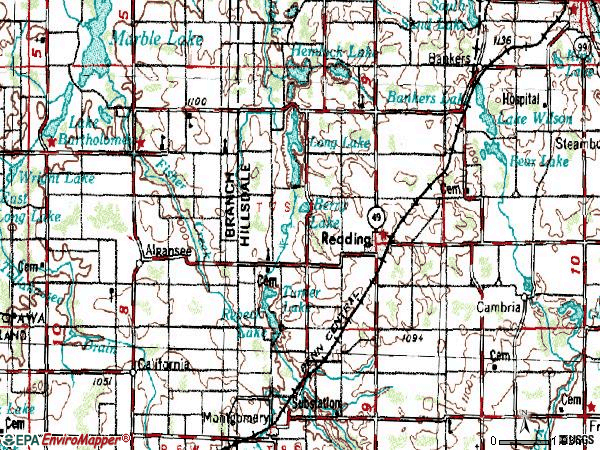Zip code 49274 topographic map