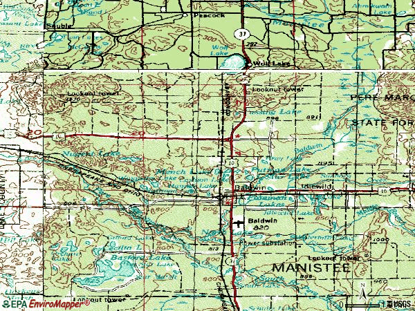 Zip code 49304 topographic map
