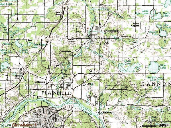 Zip code 49306 topographic map