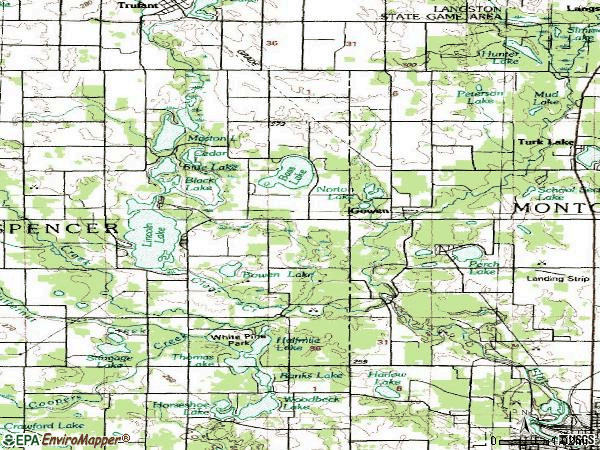 Zip code 49326 topographic map