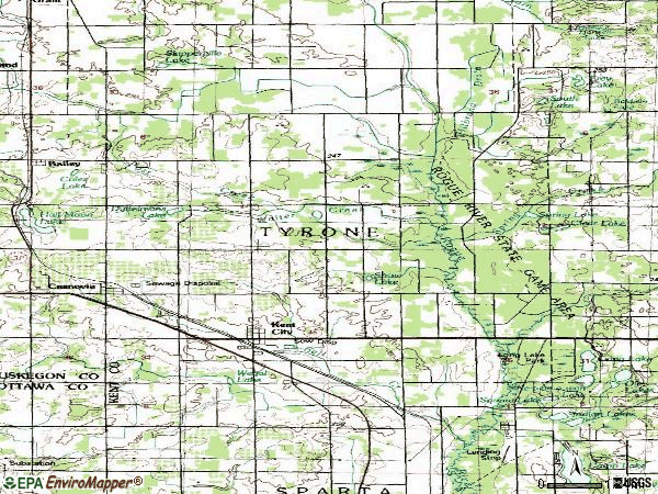 Zip code 49330 topographic map