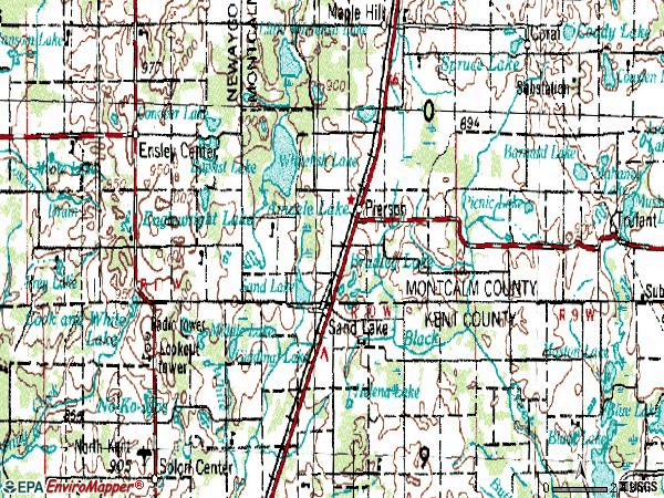 Zip code 49343 topographic map