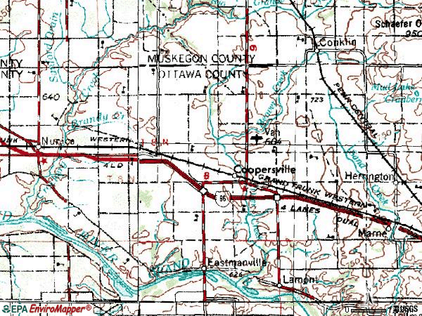Zip code 49404 topographic map