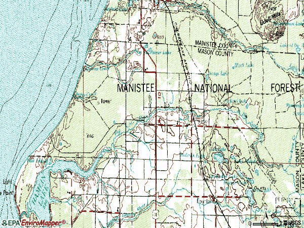 Zip code 49411 topographic map
