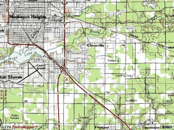 Zip code 49444 topographic map