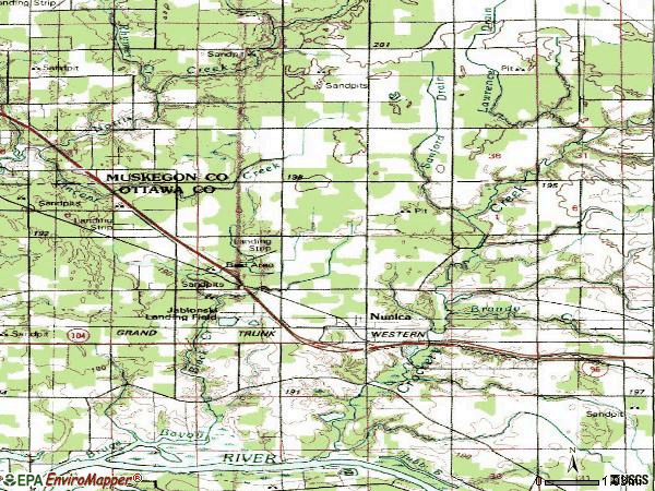 Zip code 49448 topographic map