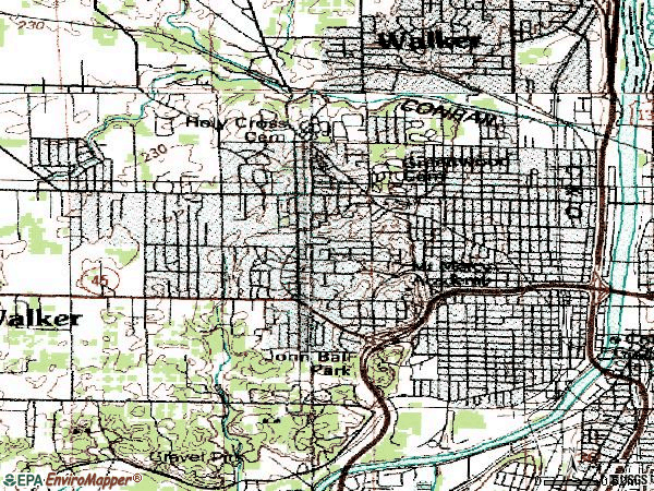 Zip code 49504 topographic map
