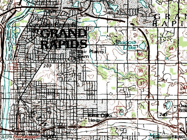 Zip code 49505 topographic map