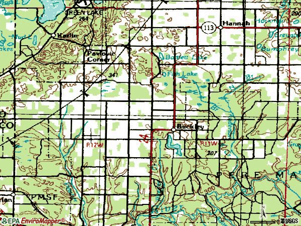 Zip code 49620 topographic map