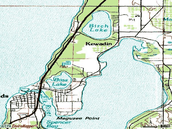 Zip code 49629 topographic map