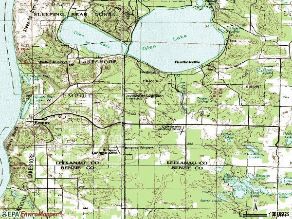 Zip code 49630 topographic map