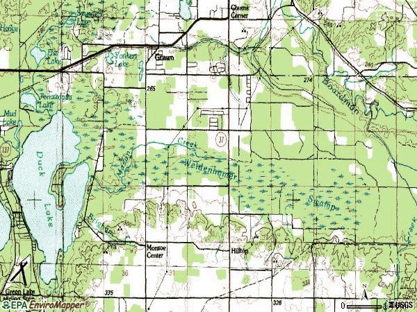 Zip code 49637 topographic map