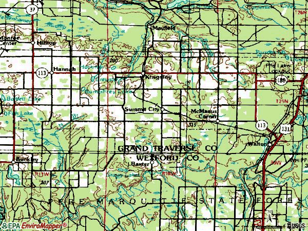 Zip code 49649 topographic map