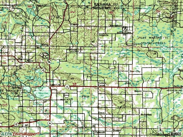 Zip code 49651 topographic map