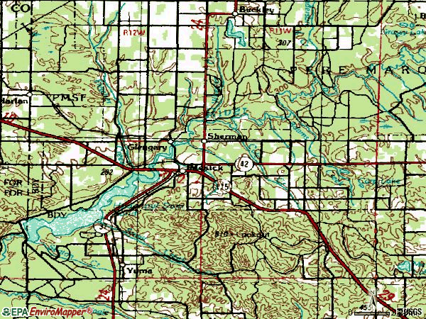 Zip code 49665 topographic map