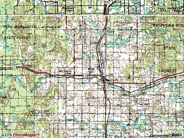 Zip code 49677 topographic map