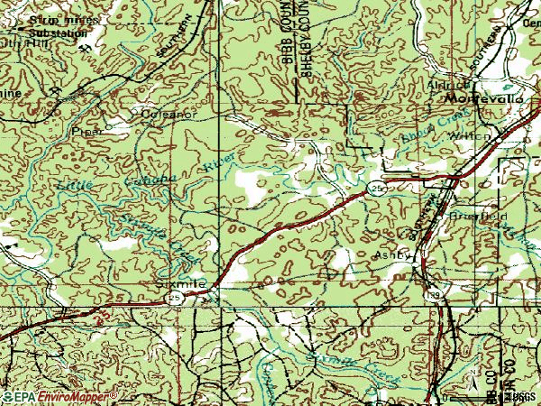 Zip code 35035 topographic map
