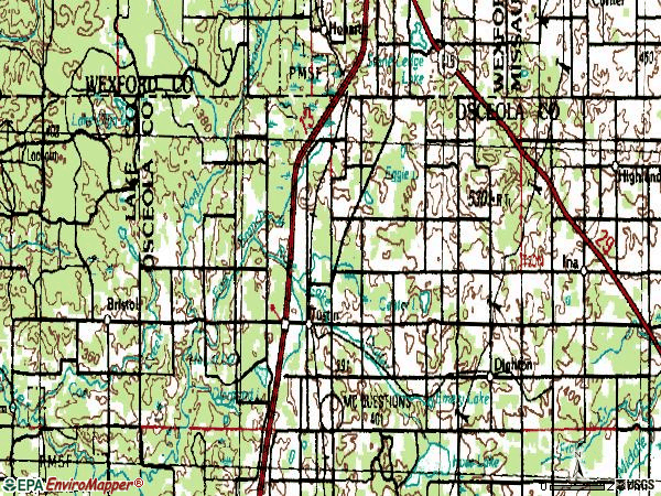 Zip code 49688 topographic map