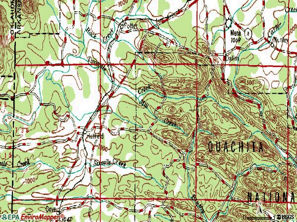 Zip code 71945 topographic map