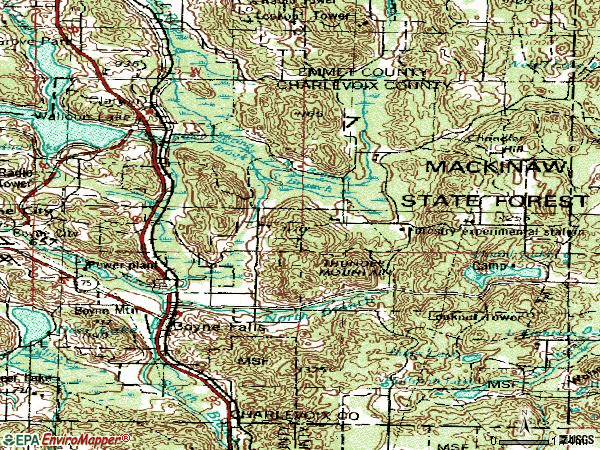 Zip code 49713 topographic map