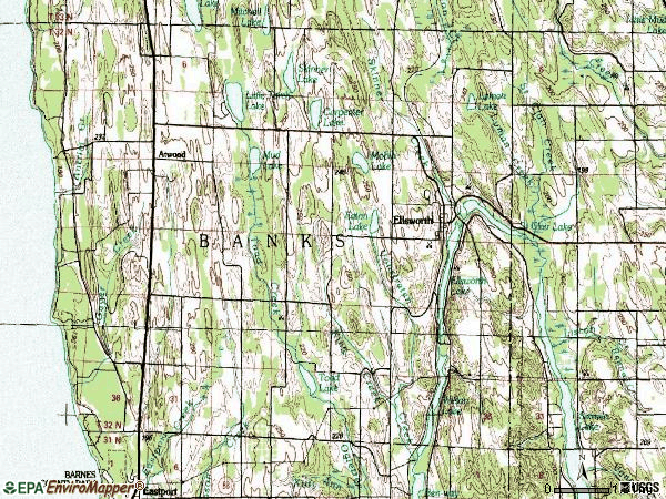 Zip code 49729 topographic map