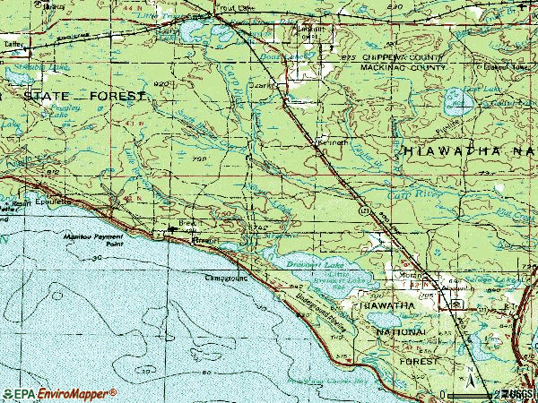 Zip code 49760 topographic map