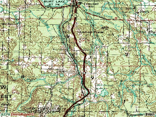 Zip code 49799 topographic map