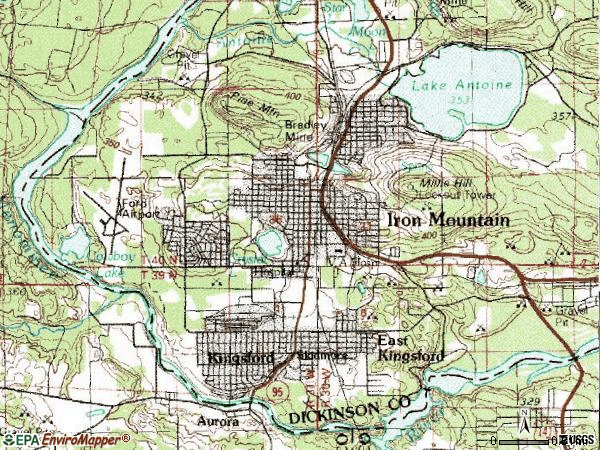 Zip code 49802 topographic map