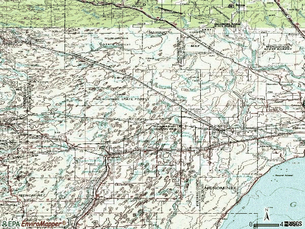 Zip code 49807 topographic map