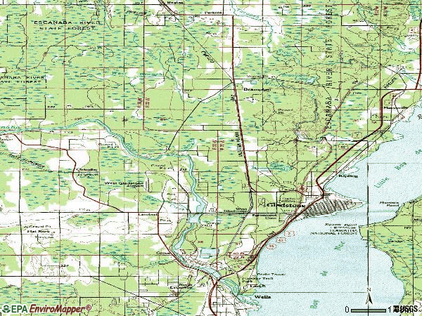 Zip code 49837 topographic map